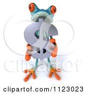 3d Turquoise Springer Frog Holding A Dollar Symbol 2