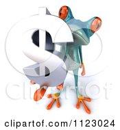 3d Turquoise Springer Frog Holding A Dollar Symbol 3