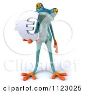 3d Turquoise Springer Frog Holding A Euro Symbol 1