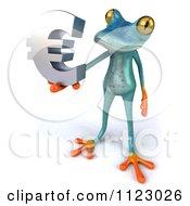 3d Turquoise Springer Frog Holding A Euro Symbol 3