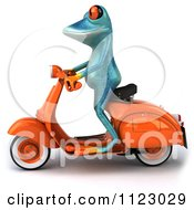 Clipart Of A 3d Turquoise Springer Frog On A Scooter 1 Royalty Free CGI Illustration