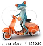 Clipart Of A 3d Turquoise Springer Frog On A Scooter 2 Royalty Free CGI Illustration