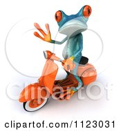 Clipart Of A 3d Turquoise Springer Frog On A Scooter 3 Royalty Free CGI Illustration