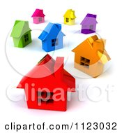 Clipart Of A Neighborhood Of 3d Colorful Homes Royalty Free CGI Illustration