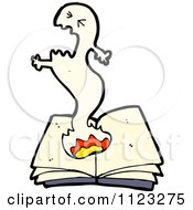 Fantasy Cartoon Of A Ghost Over A Book Royalty Free Vector Clipart by lineartestpilot