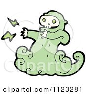 Fantasy Cartoon Of A Green Ghost Royalty Free Vector Clipart