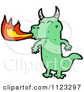 Fantasy Cartoon Of A Green Dragon 7 Royalty Free Vector Clipart