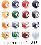 Line Up Of Each Ball Of Billiards Pool Clipart Illustration