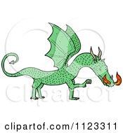 Fantasy Cartoon Of A Green Dragon 3 Royalty Free Vector Clipart