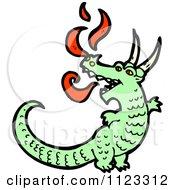 Fantasy Cartoon Of A Green Dragon 1 Royalty Free Vector Clipart
