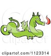 Fantasy Cartoon Of A Green Dragon 5 Royalty Free Vector Clipart