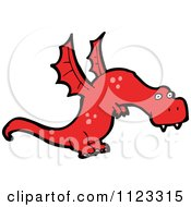 Fantasy Cartoon Of A Red Dragon Monster Or Alien Royalty Free Vector Clipart by lineartestpilot