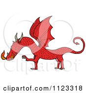 Fantasy Cartoon Of A Red Dragon 1 Royalty Free Vector Clipart by lineartestpilot
