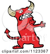 Fantasy Cartoon Of A Red Devil Monster 17 Royalty Free Vector Clipart by lineartestpilot