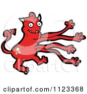 Fantasy Cartoon Of A Red Devil Monster 29 Royalty Free Vector Clipart by lineartestpilot