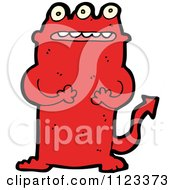 Fantasy Cartoon Of A Red Devil Monster 26 Royalty Free Vector Clipart by lineartestpilot