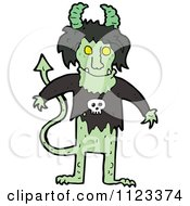 Fantasy Cartoon Of A Green Devil Alien Or Monster Royalty Free Vector Clipart by lineartestpilot