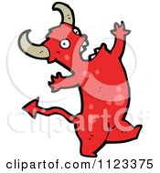Fantasy Cartoon Of A Red Devil Monster 13 Royalty Free Vector Clipart by lineartestpilot