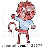 Fantasy Cartoon Of A Red Devil Monster 14 Royalty Free Vector Clipart by lineartestpilot