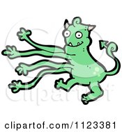 Fantasy Cartoon Of A Green Devil Monster 18 Royalty Free Vector Clipart by lineartestpilot