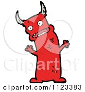 Fantasy Cartoon Of A Red Devil Monster 27 Royalty Free Vector Clipart by lineartestpilot