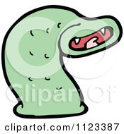 Fantasy Cartoon Of A Green Leech Worm 1 Royalty Free Vector Clipart by lineartestpilot