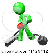 3d Sweeping Green Man Attached To A Ball And Chain And Wearing A Boxing Glove
