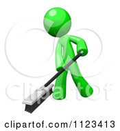 Clipart Of A 3d Sweeping Green Man Royalty Free CGI Illustration