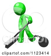 Clipart Of A 3d Sweeping Green Man Attached To A Ball And Chain Royalty Free CGI Illustration by Leo Blanchette