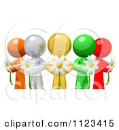 3d Colorful Diverse People Holding Flowers