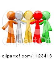 Clipart Of A 3d Colorful Diverse People Standing Together Royalty Free CGI Illustration