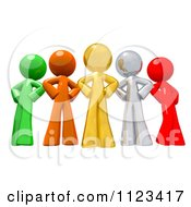 Clipart Of A 3d Colorful Diverse People With Their Hands On Their Hips Royalty Free CGI Illustration