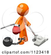 3d Vacuuming Orange Man Attached To A Ball And Chain And Wearing A Boxing Glove