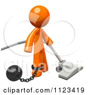 3d Vacuuming Orange Man Attached To A Ball And Chain