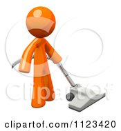 Clipart Of A 3d Vacuuming Orange Man Royalty Free CGI Illustration