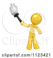 Clipart Of A 3d Gold Man Janitor Cleaning With A Feather Duster Royalty Free CGI Illustration