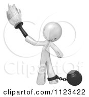 Clipart Of A 3d Dusting Silver Man Attached To A Ball And Chain Royalty Free CGI Illustration by Leo Blanchette