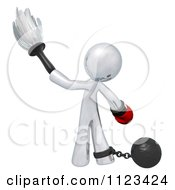 Clipart Of A 3d Dusting Silver Man With A Boxing Glove Attached To A Ball And Chain Royalty Free CGI Illustration
