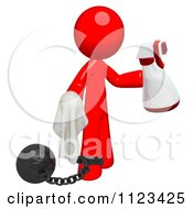 Clipart Of A 3d Cleaning Red Man Using A Spray Bottle And Cloth Attached To A Ball And Chain Royalty Free CGI Illustration