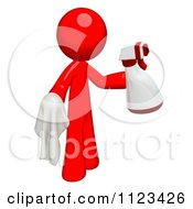 3d Cleaning Red Man Using A Spray Bottle And Cloth