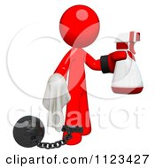 Clipart Of A 3d Cleaning Red Man Wearing A Boxing Glove Using A Spray Bottle And Cloth Attached To A Ball And Chain Royalty Free CGI Illustration