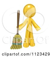 Clipart Of A 3d Gold Man Holding A Broom Royalty Free CGI Illustration