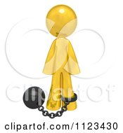 Clipart Of A 3d Gold Man Attached To A Ball And Chain Royalty Free CGI Illustration