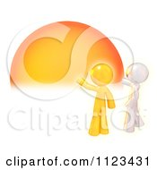 Clipart Of A 3d Silver And Gold Man Knocking On The Sun Royalty Free CGI Illustration