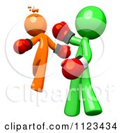 Clipart Of A 3d Green Man Boxer Knocking Out An Orange Opponent Royalty Free CGI Illustration by Leo Blanchette