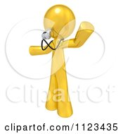 Clipart Of A 3d Gold Man Coach Or Referee Blowing A Whistle Royalty Free CGI Illustration