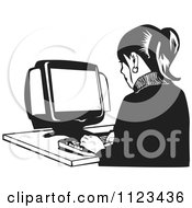 Clipart Of A Black And White Office Worker Woman Typing On A Desktop Computer Royalty Free Vector Illustration by David Rey