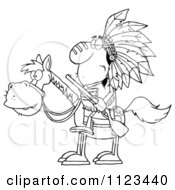 Cartoon Of An Outlined Native American Indian Chief On Horseback With A Rifle Royalty Free Vector Clipart
