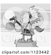 Cartoon Of A Grayscale Native American Indian Chief On Horseback With A Rifle On A Cliff Royalty Free Vector Clipart
