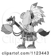 Cartoon Of A Grayscale Native American Indian Chief On Horseback With A Rifle Royalty Free Vector Clipart
